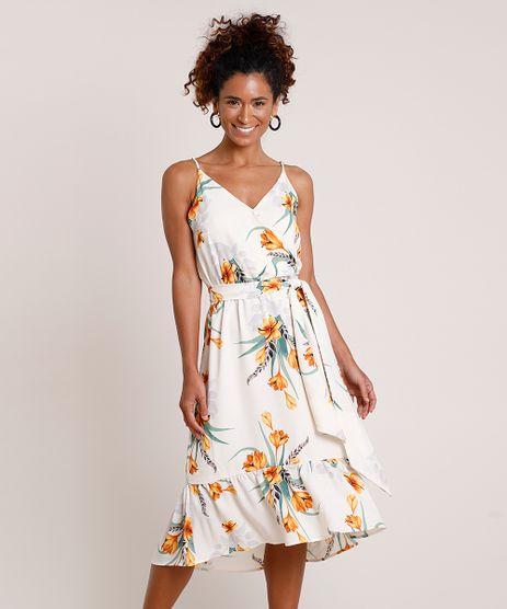 Vestido-Feminino-Midi-Estampado-Floral-com-Transpasse-e-Faixa-para-Amarrar-Alca-Fina-Bege-Claro-9703685-Bege_Claro_1