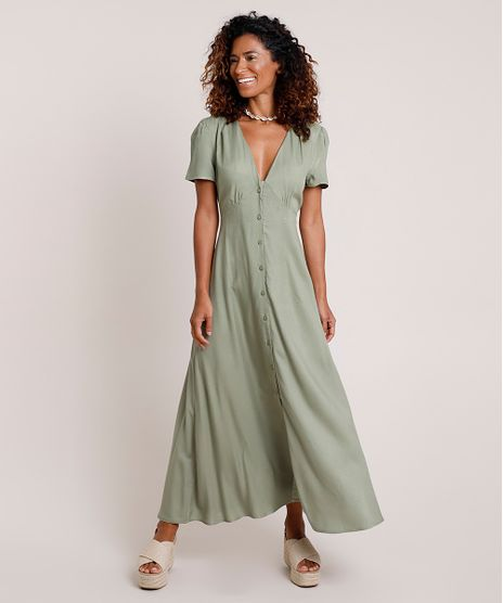Vestido-Feminino-Longo-com-Botoes-Manga-Curta-Verde-9704310-Verde_1