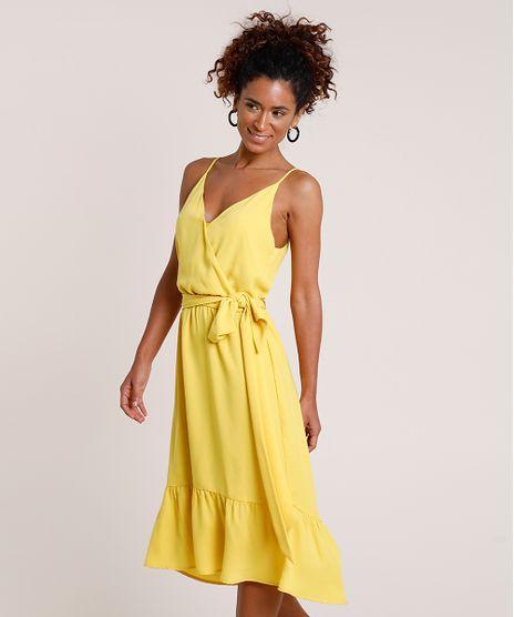 Vestido-Feminino-Midi-com-Transpasse-e-Faixa-para-Amarrar-Alca-Fina-Amarelo-9703686-Amarelo_1