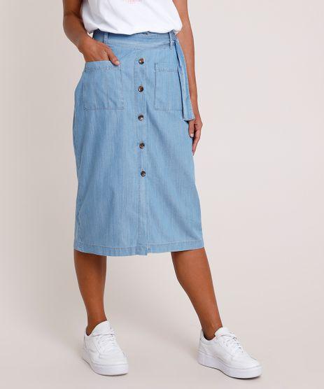 Saia-Jeans-Feminina-Midi-com-Botoes-e-Faixa-para-Amarrar-Azul-Claro-9887389-Azul_Claro_1