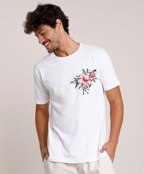 Camiseta-Masculina-com-Estampa-Floral-e-Bolso-Manga-Curta-Gola-Careca-Off-White-9847564-Off_White_1