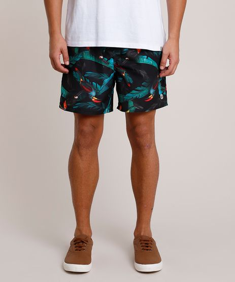 Short-Masculino-Estampado-de-Tucano-com-Bolsos-e-Cordao-Preto-9788118-Preto_1