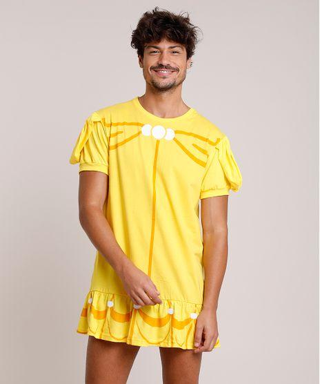 Camiseta-Masculina-Carnaval-Vestido-Bela-Manga-Curta-Amarela-9871324-Amarelo_1