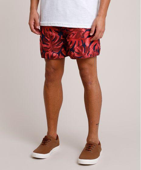 Short-Masculino-Estampado-de-Folhagem-com-Bolsos-e-Cordao-Vermelho-9788129-Vermelho_1