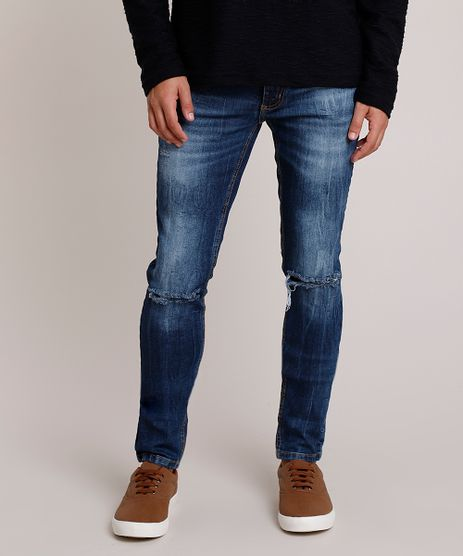 Calca-Jeans-Masculina-Skinny-com-Rasgos-Azul-Escuro-9874344-Azul_Escuro_1