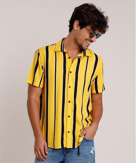 Camisa-Masculina-Tradicional-Listrada-Manga-Curta-Mostarda-9863311-Mostarda_1