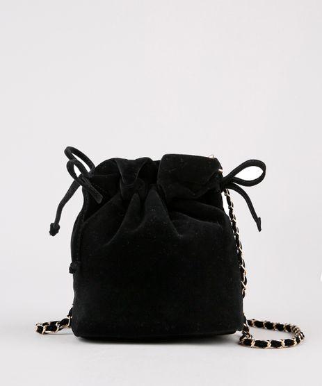 Bolsa-Feminina-Bucket-Transversal-Pequena-em-Veludo-com-Corrente-Preto-9484067-Preto_1
