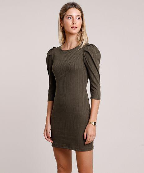 Vestido-Feminino-Curto-Canelado-Manga-Bufante-Verde-Militar-9897496-Verde_Militar_1