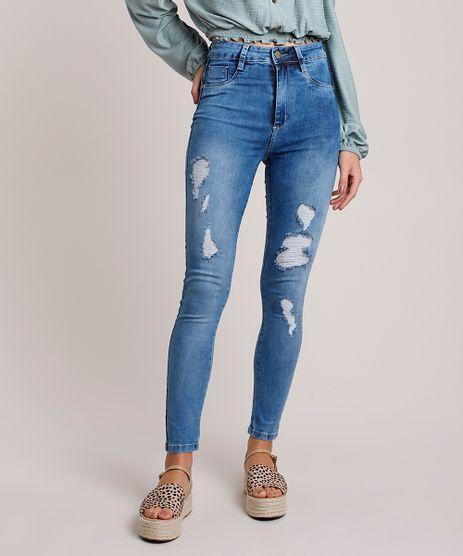 Calca-Jeans-Feminina-Sawary-Super-Skinny-Lipo-Push-Up-Cintura-Alta-Destroyed-Azul-Medio-9941555-Azul_Medio_1