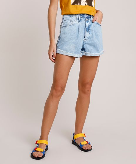 Short-Jeans-Feminino-Mom-Cintura-Super-Alta-com-Barra-Dobrada-Azul-Claro-9889886-Azul_Claro_1