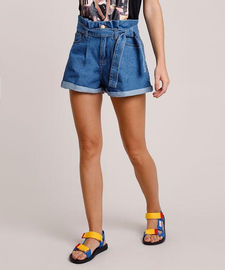 Short-Jeans-Feminino-Clochard-Cintura-Super-Alta-com-Faixa-para-Amarrar-Azul-Medio-9854725-Azul_Medio_1