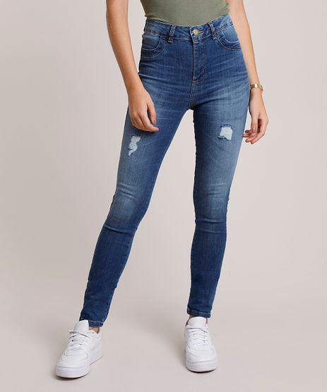 Calca-Jeans-Feminina-Sawary-Super-Skinny-Levanta-Bumbum-Cintura-Alta-com-Rasgos-Azul-Escuro-9941538-Azul_Escuro_1