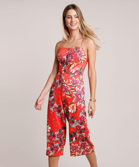 Macacao-Feminino-Pantacourt-Estampado-Floral-com-Botoes-Alca-Fina-Vermelho-9780553-Vermelho_1