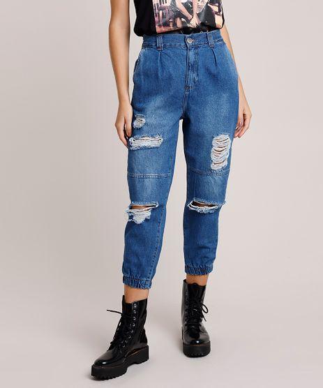 Calca-Jeans-Feminina-Jogger-Cintura-Alta-Destroyed-Azul-Medio-9896490-Azul_Medio_1