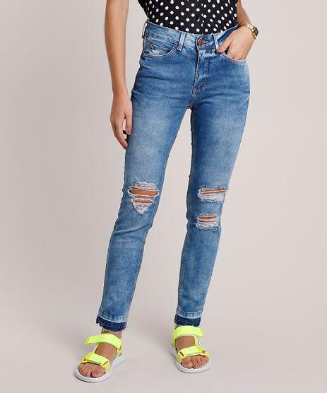 Calca-Jeans-Feminina-Skinny-Cintura-Media-com-Rasgos-e-Barra-Desfeita-Azul-Medio-9882945-Azul_Medio_1