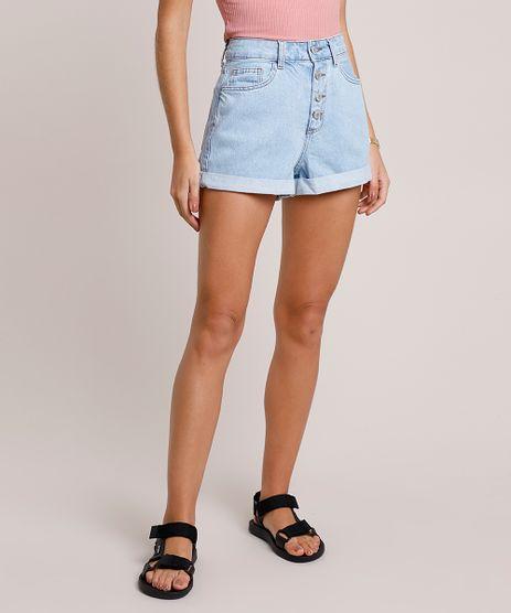 Short-Jeans-Feminino-Mom-Cintura-Super-Alta-com-Barra-Dobrada-Azul-Claro-9860416-Azul_Claro_1