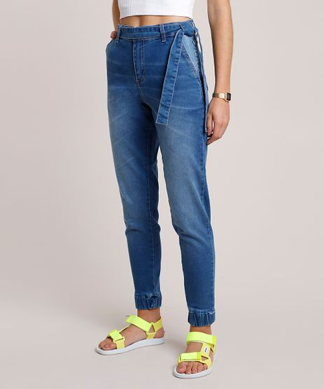 Calca-Jeans-Feminina-Sawary-Jogger-Cintura-Alta-com-Faixa-para-Amarrar-Azul-Claro-9941564-Azul_Claro_1