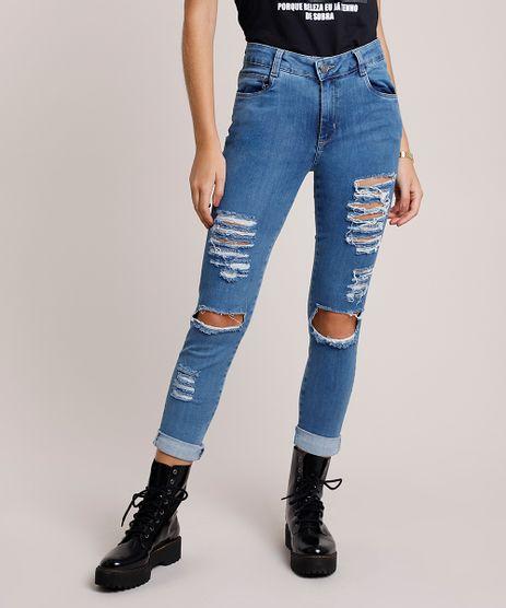 Calca-Jeans-Feminina-Sawary-Skinny-Cintura-Media-Cropped-Destroyed-Azul-Medio-9941558-Azul_Medio_1