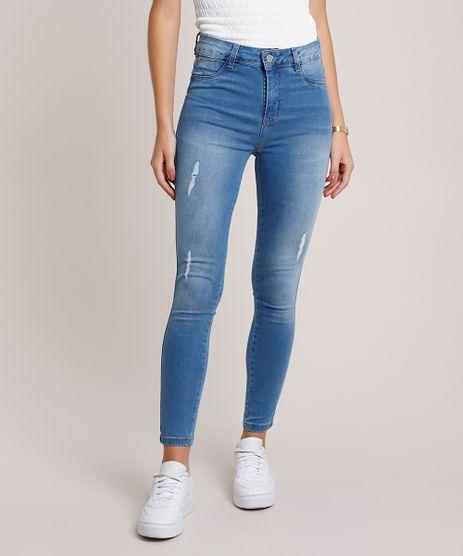 Calca-Jeans-Feminina-Sawary-Super-Skinny-Levanta-Bumbum-Cintura-Alta-com-Puidos-Azul-Claro-9941540-Azul_Claro_1