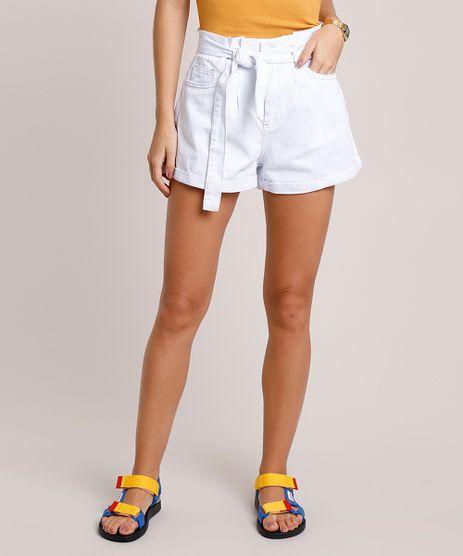 Short-de-Sarja-Feminino-Clochard-Cintura-Super-Alta-com-Faixa-para-Amarrar-Branco-9854727-Branco_1
