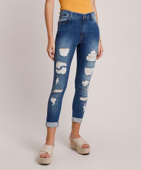 Calca-Jeans-Feminina-Sawary-Skinny-Cintura-Media-Cropped-Destroyed-Azul-Escuro-9941559-Azul_Escuro_1