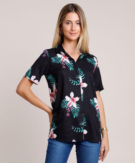 Camisa-Feminina-Ampla-Estampada-Floral-Manga-Curta-Preta-9878163-Preto_1