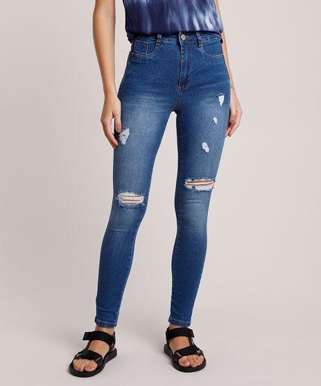 Calca-Jeans-Feminina-Sawary-Super-Skinny-Lipo-Cintura-Alta-com-Rasgos-Azul-Medio-9941553-Azul_Medio_1