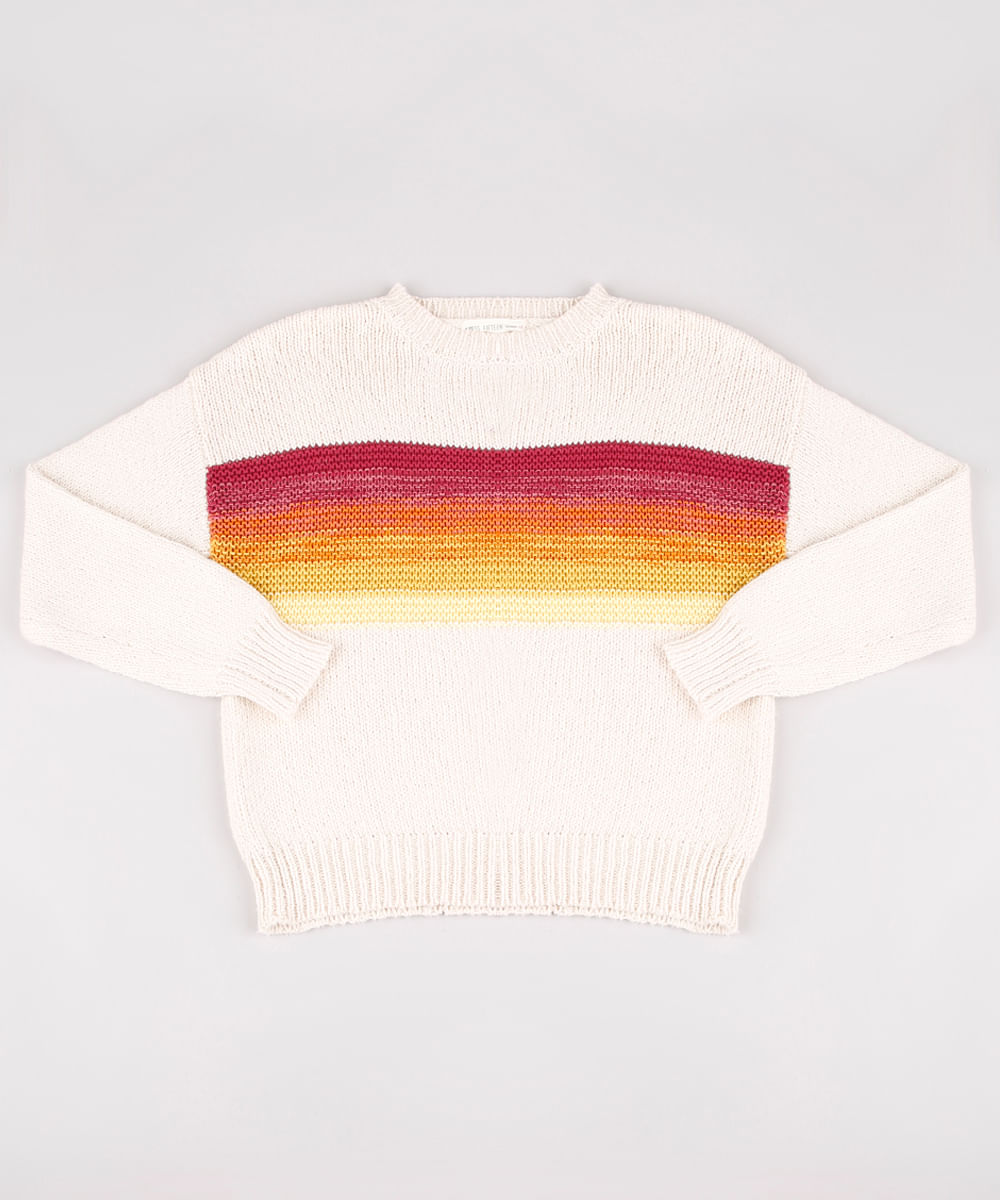 Suéter Juvenil em Tricô com Listras Bege