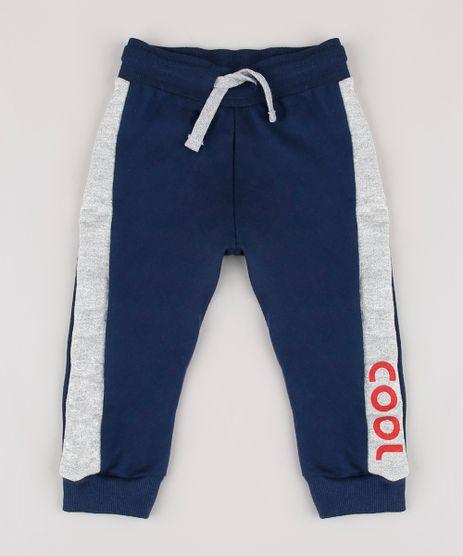 Calca-Infantil-em-Moletom-com-Faixa-Lateral--Cool--Azul-Marinho-9858173-Azul_Marinho_1