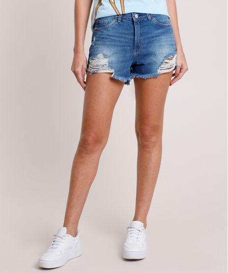 Short-Jeans-Feminino-Reto-Destroyed-Cintura-Alta-Azul-Escuro-9753709-Azul_Escuro_1