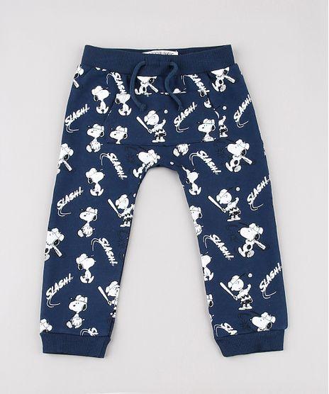 Calca-Infantil-Snoopy-Estampada-em-Moletom-com-Bolso-Azul-Marinho-9723447-Azul_Marinho_1