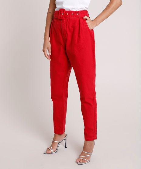 Calca-de-Sarja-Feminina-Mindset-Alfaiatada-Cintura-Super-Alta-com-Cinto--Vermelha-9902726-Vermelho_1