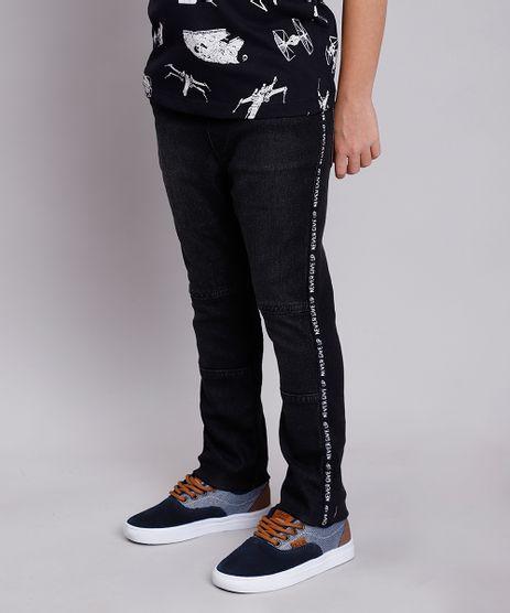 Calca-Jeans-Infantil-em-Moletom-com-Faixa-Lateral--Never-Give-Up--Preta-9846210-Preto_1