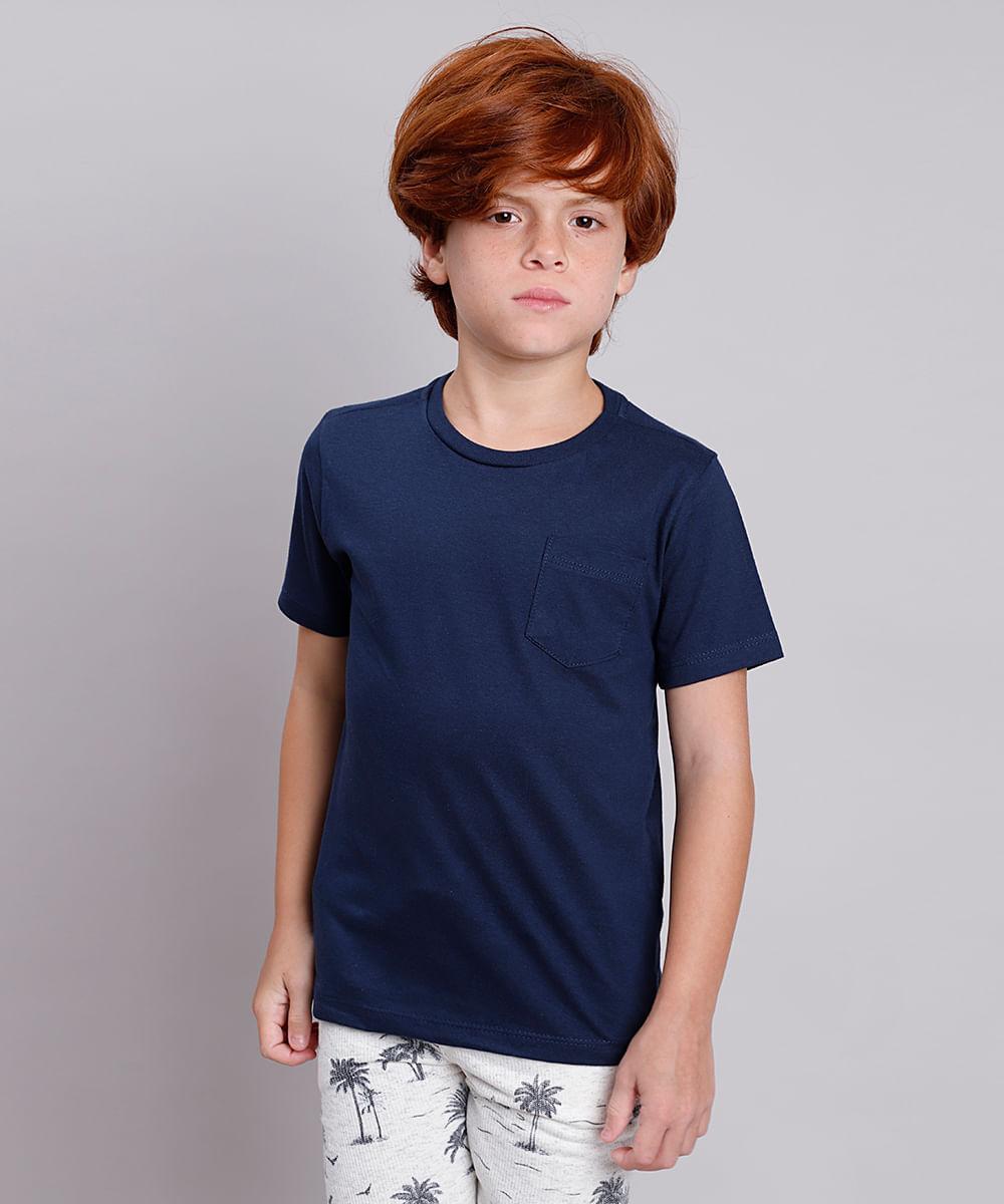 Camiseta Infantil Básica com Bolso Manga Curta Azul Marinho
