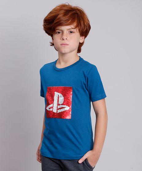 Camiseta-Infantil-PlayStation-com-Paete-Dupla-Face-Manga-Curta-Azul-9837949-Azul_1