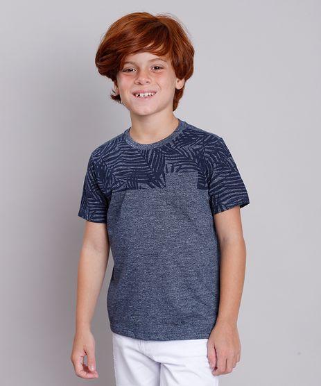 Camiseta-Infantil-com-Estampa-de-Folhagem-e-Bolso-Manga-Curta-Azul-Marinho-9758291-Azul_Marinho_1
