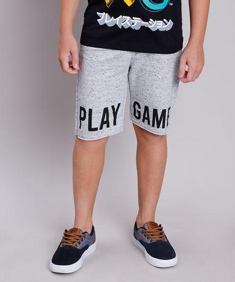 Bermuda-Infantil--Play-Game--em-Moletom-com-Bolso-Cinza-Mescla-Claro-9837875-Cinza_Mescla_Claro_1