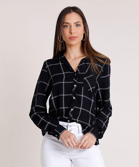 Camisa-Feminina-Estampada-Xadrez-com-Bolso-Manga-Longa-Preta-9374548-Preto_1