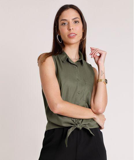 Camisa-Feminina-com-Bolso-e-No-Sem-Manga-Verde-Militar-9626994-Verde_Militar_1