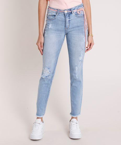 Calca-Jeans-Feminina-Skinny-Cintura-Media-Destroyed-com-Cadarco-Neon-Azul-Medio-9884327-Azul_Medio_1