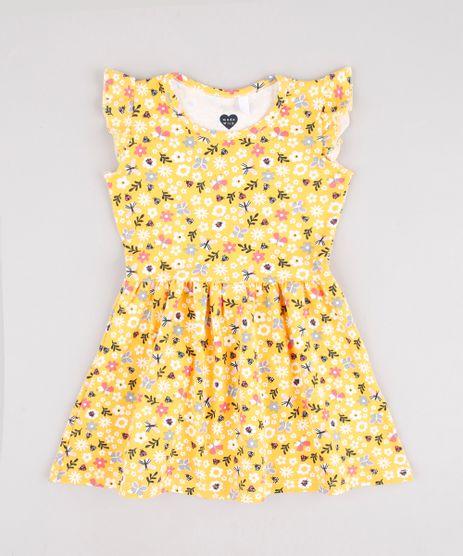 Vestido-Infantil-Estampado-Floral-com-Babados-Sem-Manga-Amarelo-9895163-Amarelo_1