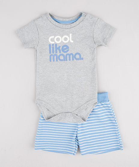 Conjunto-Infantil-de-Body--Cool--Manga-Curta-Cinza-Mescla---Bermuda-Listrada-em-Moletom-Azul-9858170-Azul_1