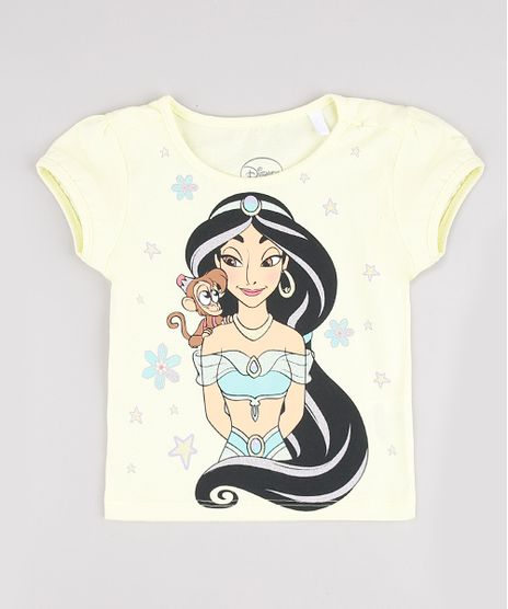 Blusa-Infantil-Jasmine-Aladdin-com-Glitter-Manga-Curta-Amarela-9860367-Amarelo_1