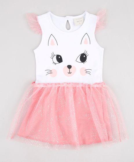 Vestido-Infantil-Gatinho-com-Tule-e-Babado-Sem-Manga-Branco-9877334-Branco_1