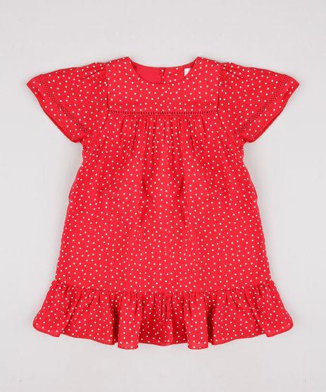 Vestido-Infantil-Estampado-de-Poa-com-Botoes-Manga-Curta-Vermelho-9796111-Vermelho_1