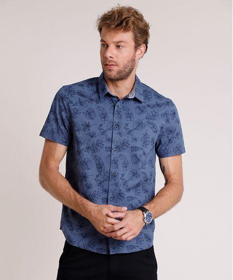 Camisa-Masculina-Tradicional-Estampada-de-Folhagem-Manga-Curta-Azul-9645916-Azul_1