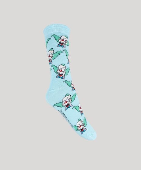 Meia-Masculina-Krusty-Os-Simpsons-Cano-Alto-Azul-Claro-9936922-Azul_Claro_1