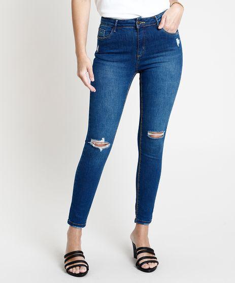 Calca-de-Sarja-Feminina-Super-Skinny-Cintura-Media-Destroyed--Azul-Escuro-9822767-Azul_Escuro_1