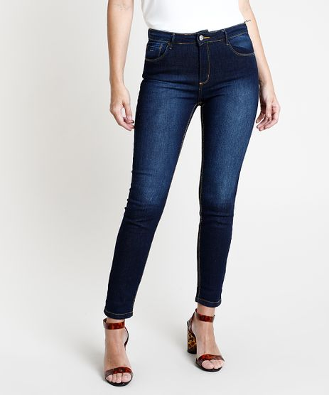 Calca-de-Sarja-Feminina-Super-Skinny-Cintura-Media--Azul-Escuro-9858839-Azul_Escuro_1