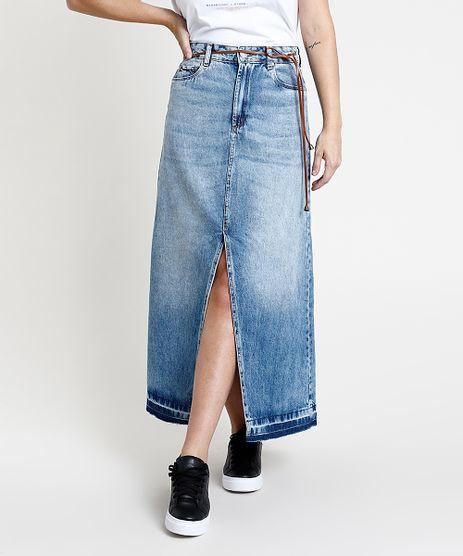 Saia-Jeans-Feminina-Longa-com-Fenda-Barra-Desfiada-com-Cinto-Azul-Medio-9889644-Azul_Medio_1